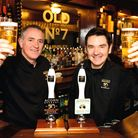 Cheers! Owner Dave Hughes and commercial director David Broadhead raise a glass at Acorn Brewerys Ol