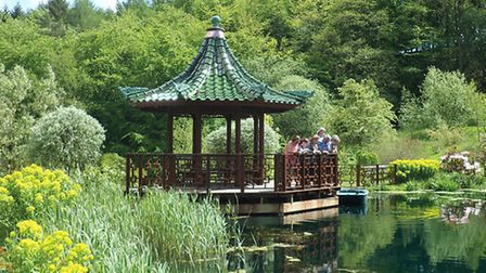 A recently-installed pagoda gives visitors a splendid view of the lake