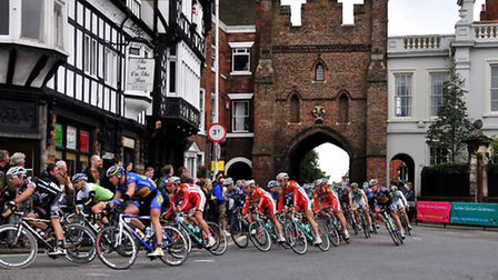 Cyclists riding through North Bar in Beverley