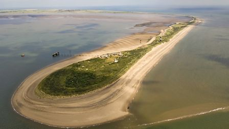 From the air, the unique shape of Spurn in the landscape becomes apparent. The 2013 storm surge burs