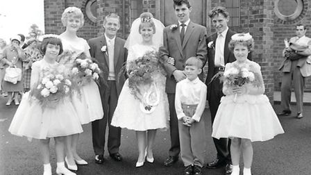 Henson-Brickley wedding. The bridegroom is wearing a Teddy Boy jacket which played with the idea of