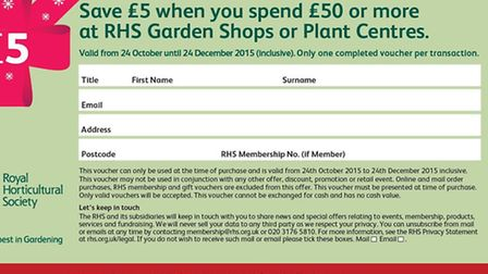 Christmas shopping voucher for £5 off when you spend £50 at Halow Carr