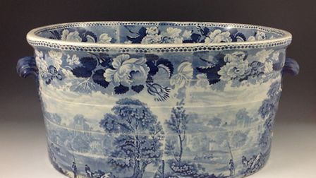 Staffordshire pottery foot bath, c. 1820, showing a titled print of ' Fountains Abbey'. From Philip