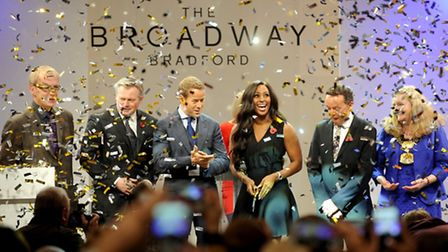 X factor star Alexandra Burke, opens the new Broadway shopping centre with leader of Bradford Counci