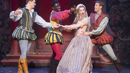 Opera Norths production of Cole Porters Kiss Me, Kate. Ashley Day as Lucentio, Emmanuel Kojo as Grem