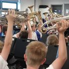 Wardle Junior Blast Brass Band celebrating their success at the Brass Bands England 2015 National Y