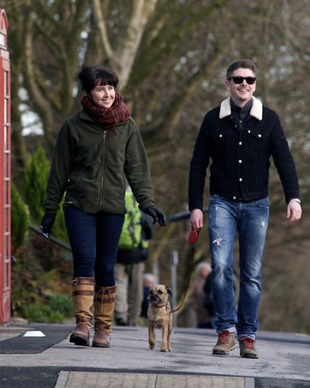 Emma Coupland and Rowan Richardson out and about with dog Poppy
