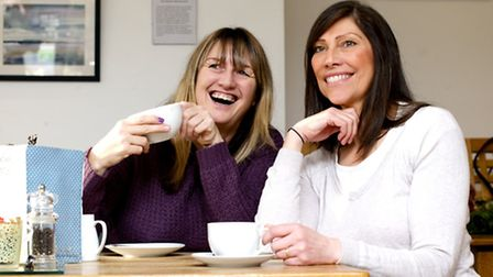 Sue Wood and Dyane Hind (right) enjoy a coffee at the Arthouse Cafe