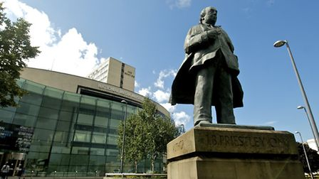The National Media Museum stands behind the statue of famous son J B Priestley