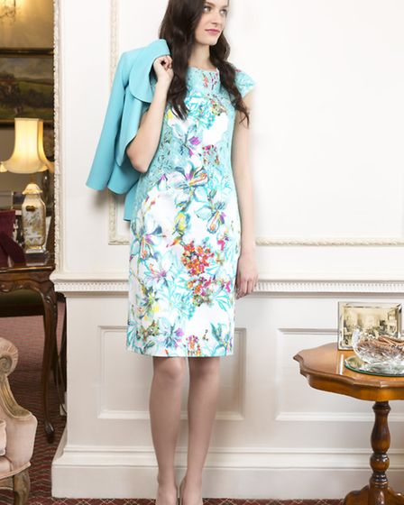 Izabella multi floral dress and jacket, £310, from Helen Sykes, is worn by Sarah