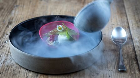 This ethereal raspberry, skyr and lemon verbena creation shows that every plate is a performance
