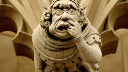 """A series of 'Grotesque"""" carvings with Medeival ailment theme."""