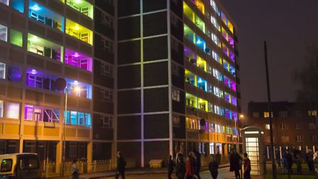 TheThornton Estate art project will eventually include neighbouring buildings Photo: Sean Spencer