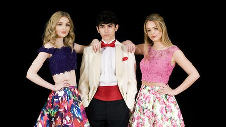 Purple floral two piece with sequin top and full skirt, Ellie Wilde by Mon Cheri, £560; Menswear sup