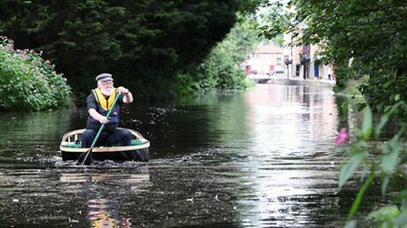 Dave Purvis in a coracle the River Ure Photo Doug Jackson