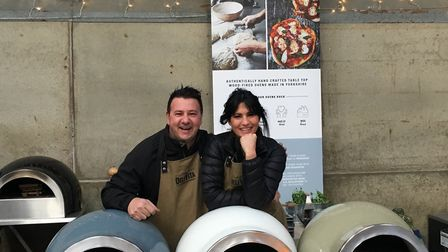 Joe Formisano and Olivia Robinson, founders of Delivita, with their Yorkshire-made handcrafted pizza