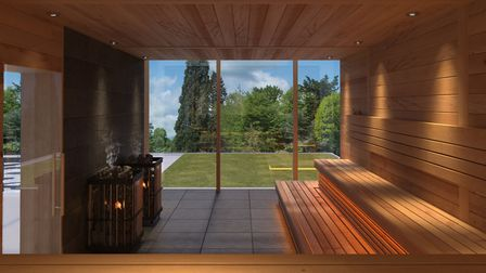 The panoramic sauna overlooking the landscaped grounds