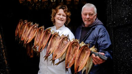 Chef Stephanie Moon and Barry Brown inspect kippers fresh from the smokehouse