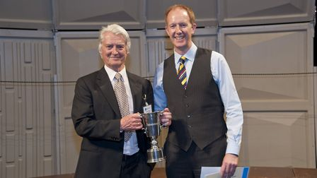 Thom Meredith (on right) receives the Best UK Choir award in Cornwall Photo Steve Earl-Davies