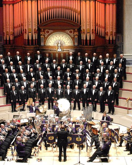 Colne Valley Male Voice Choir with the Brighouse & Rastrick Brass Band at Huddersfield Town Hall