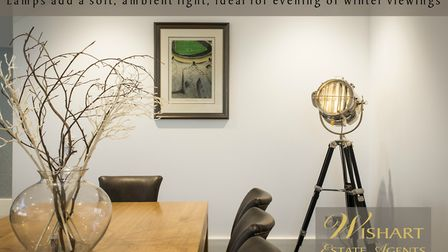 Lamps add a soft, ambient light, ideal for evening or winter evenings