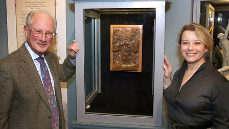 Sir Ronald Cooke, Hannah Phillip, director of Fairfax House and the sculpture