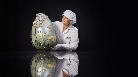 Lesley Norris, creator of Bettys Imperial Easter egg, weighing 12lb, almost 70cm high and costs 250