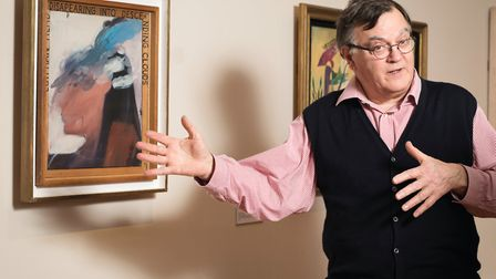 Peter Miller, pictured with David Hockney's Egyptian Head Disappearing