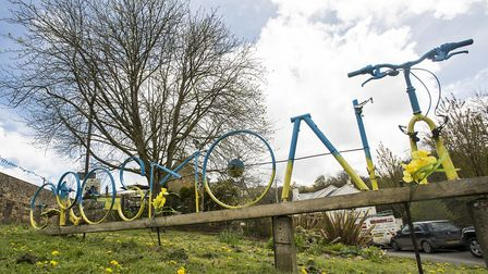 Welcome sign made from bicyle parts built at Grosmont during an earlier Tour de Yorkshsire Stage On