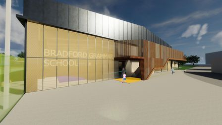 An artist's impression of the entrance to the new sports barn with stairway to the first floor viewi