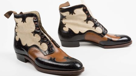 Bespoke men's Derby boots with a stacked leather heel made by AE Marlow for the Saxonia brand in Nor