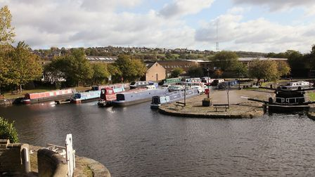 The upper basin and lock at Brighouse with the marina to the left.