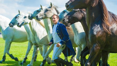 World renowned horseman Lorenzo performs his amazing routine at the Great Yorkshire Show (c) Richard