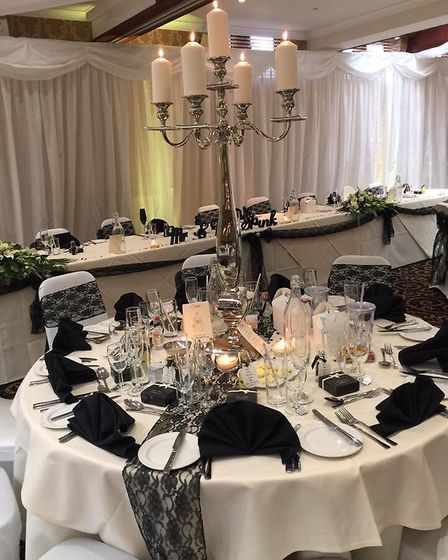 The indoor wedding marquee in the Cromwell Suite at Gomeral Park Hotel