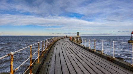 One of Whitby's twin piers