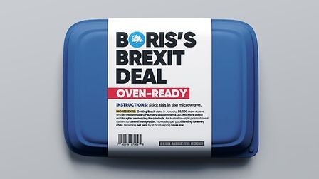 The Tories mocked up this illustration of the Tories 'oven-ready' Brexit deal. Photograph: Twitter.