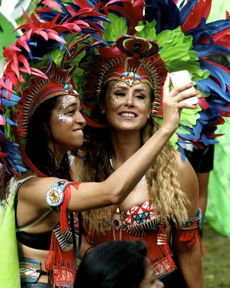 Kizzy Neat and Sam Colleyshaw take a memorable selfie at Leeds West Indian Carnival Photo: Joan Russ