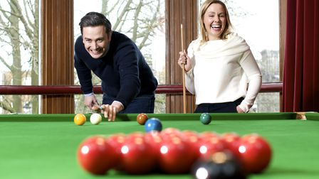 Mark Hamilton and Julia McMillan take time out in the snooker room