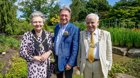 Councillor Shirley Fawcett, Alan Titchmarsh and Councillor Jim Clark