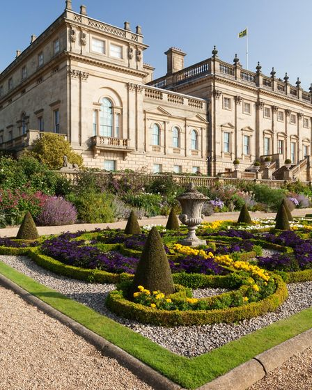 The Terrace Garden at Harewood House. The Cinnamon Drawing Room and Gallery were used for film scene