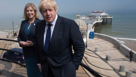 Boris Johnson and Penny Mordaunt in Cromer, Norfolk, campaigning on behalf of Vote Leave. Photograph