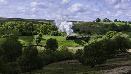 A vintage steam train makes it's way across the heart of the North York Moors near Goathland (c) Dan