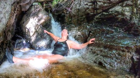 Yorkshire wild swimmer Vickie Potter from the Yorkshire Dales Wild Swimming group enjoys the thrill of wild swimming