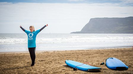 That fresh air feeling - one of the youngsters dips in to The Wave Project at Scarborough (c) Samantha Naomi