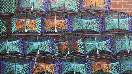 The metal skeletons of the lobster pots are made in Goole, and then wrapped with rope by the fishermen