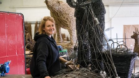 Emma's workshop is a hive of activity as she creates her trademark large scale sculptures