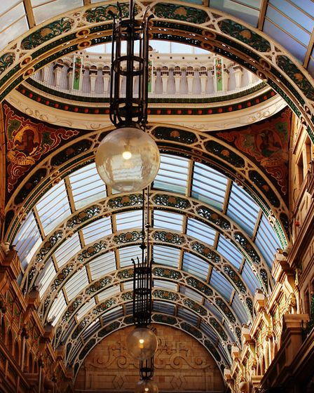 Grand arcade architecture in the centre of Leeds