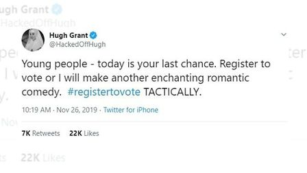 Hugh Grant has expressed his support for tactical voting in a series of tweets. Photo: Twitter