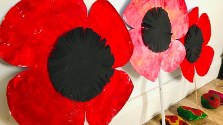 The 1st Brownies Long Ashton created paper poppies