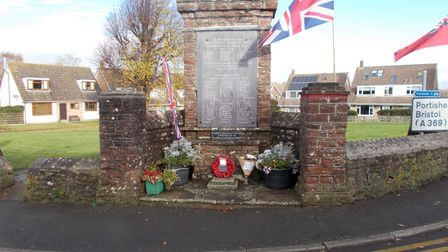 Remembrance Day at the memorial in Portbury